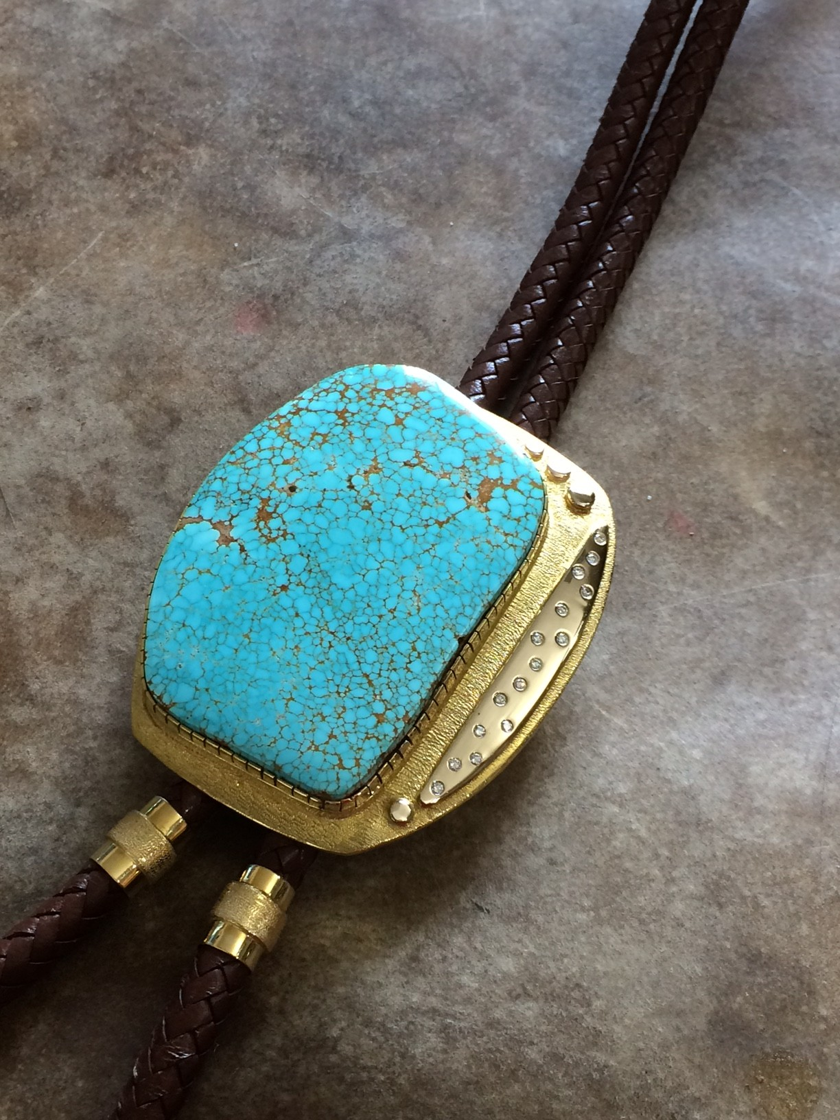 Gold and Turquoise Bola Tie